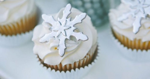 Cupcake from a Silver + White Snowflake Christmas Party via Kara's Party Ideas | KarasPartyIdeas.com (3)