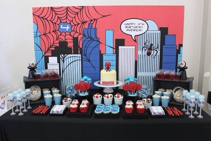 Kara's Party Ideas Dessert Table from a Spiderman Birthday Party via Kara's Party Ideas ...