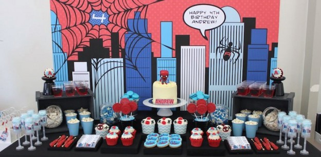 Dessert Table from a Spiderman Birthday Party via Kara's Party Ideas! KarasPartyIdeas.com (1)