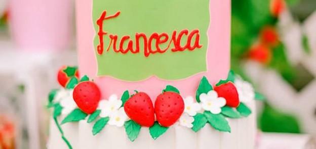 Cake from a Strawberry Garden Party via Kara's Party Ideas | KarasPartyIdeas.com (2)