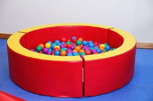 Ball Pit from a Superhero Birthday Party via Kara's Party Ideas KarasPartyIdeas. com (12)