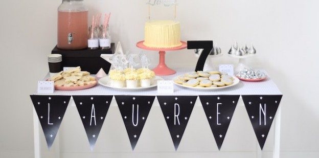 "Sweet Table from a ""Take Me To The Moon"" Girly Space Birthday Party via Kara's Party Ideas KarasPartyIdeas.com (1)"