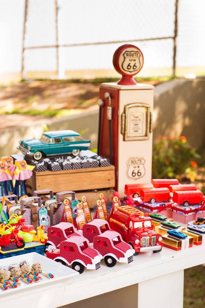 Kara s party ideas vintage gas pump decor favors from