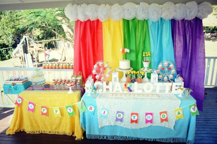 Kara S Party Ideas Setup From A Vintage Rainbow Birthday