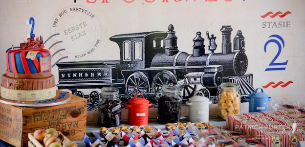 Dessert Table Backdrop from a Vintage Train Birthday Party via Kara's Party Ideas KarasPartyIdeas.com (1)
