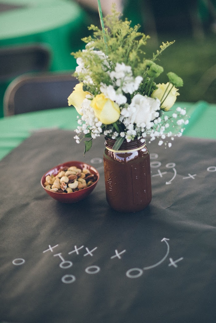 Guest tabletop from a 4th & 40th Combined Football Themed Birthday Party via Kara's Party Ideas! KarasPartyIdeas.com (19)