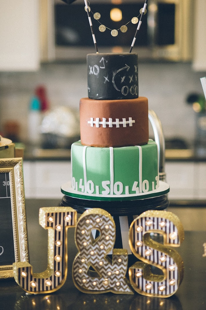 Football-inspired Cake from a 4th & 40th Combined Football Themed Birthday Party via Kara's Party Ideas! KarasPartyIdeas.com (10)