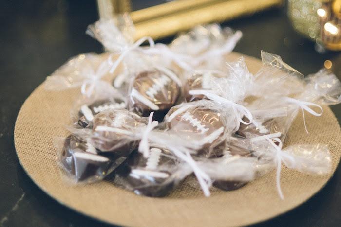 Chocolate covered Football Oreos from a 4th & 40th Combined Football Themed Birthday Party via Kara's Party Ideas! KarasPartyIdeas.com (31)