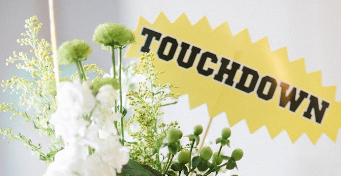 Floral Arrangement From A 4th 40th Combined Football Themed Birthday Party Via Karas Ideas