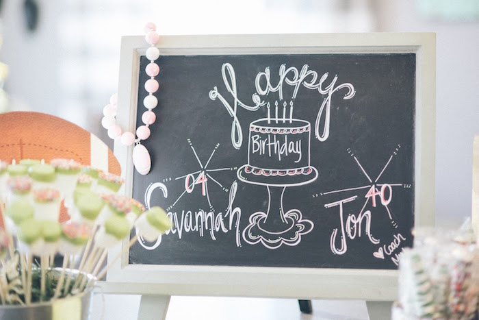 Chalkboard Sign from a 4th & 40th Combined Football Themed Birthday Party via Kara's Party Ideas! KarasPartyIdeas.com (26)