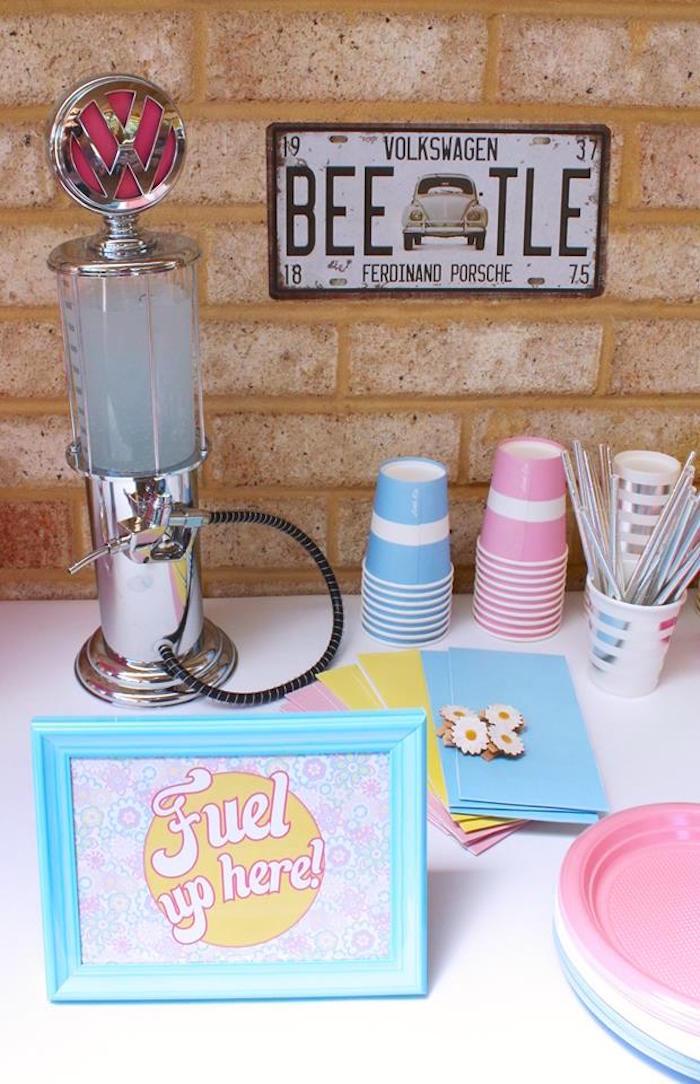 Drink Table From A 60s VW Love Bug Themed Birthday Party Via Karas Ideas KarasPartyIdeas
