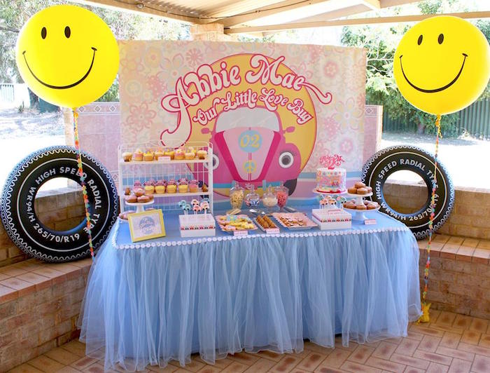 Kara 39 s party ideas sweet table from a 60 39 s vw love bug for 60s party decoration