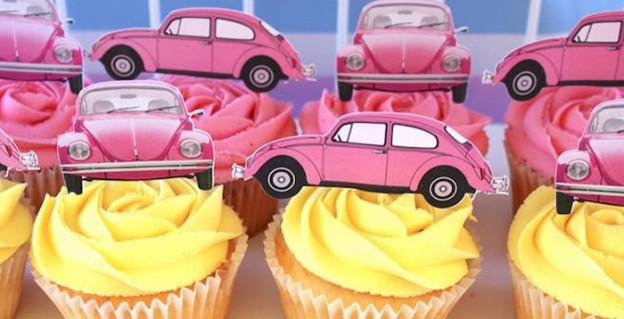 Cupcakes from a 60's VW Love Bug Themed Birthday Party via Kara's Party Ideas KarasPartyIdeas.com (2)