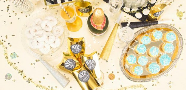 Party Table Top from a Black & Gold New Years Eve Party via Kara's Party Ideas | KarasPartyIdeas.com (2)