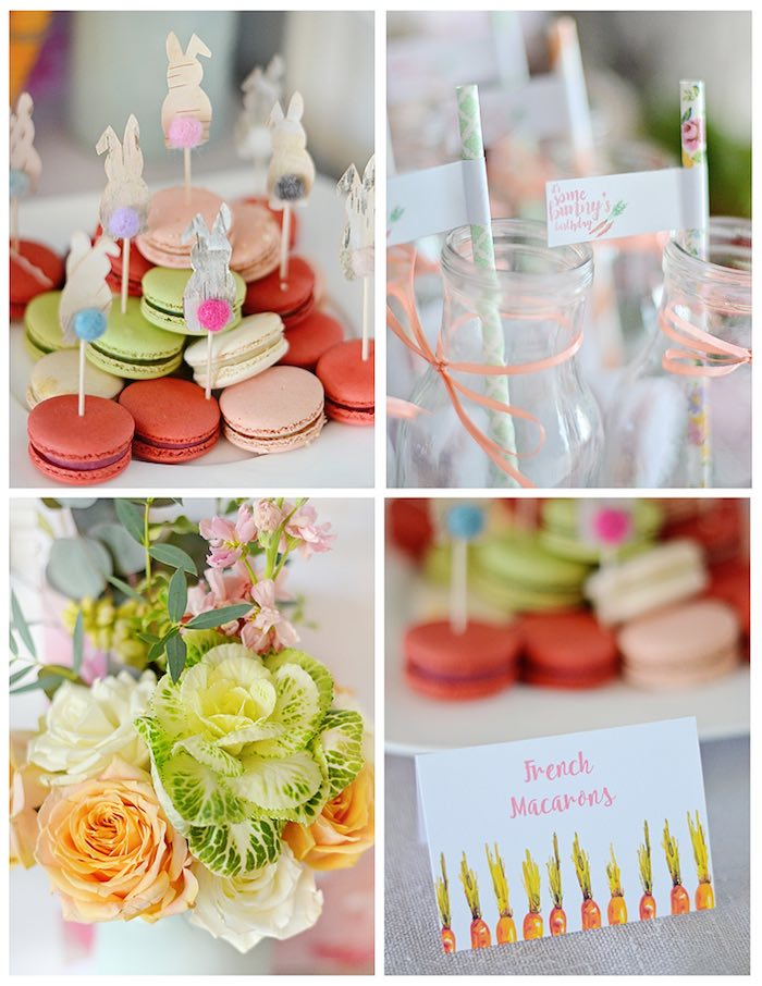 Macarons + Drink Bottles + Labels + Decor from a Bunny Birthday Party via Kara's Party Ideas | KarasPartyIdeas.com (18)