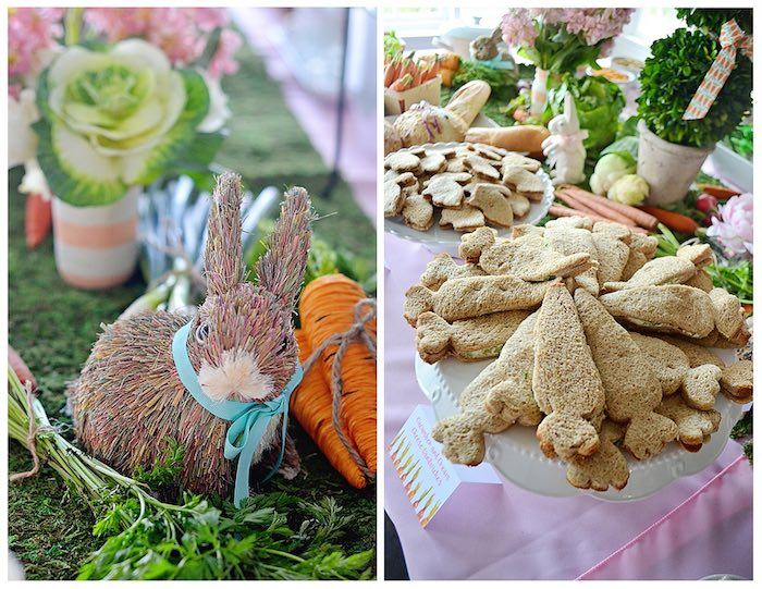 Centerpieces + Carrot Sandwiches from a Bunny Birthday Party via Kara's Party Ideas | KarasPartyIdeas.com (9)