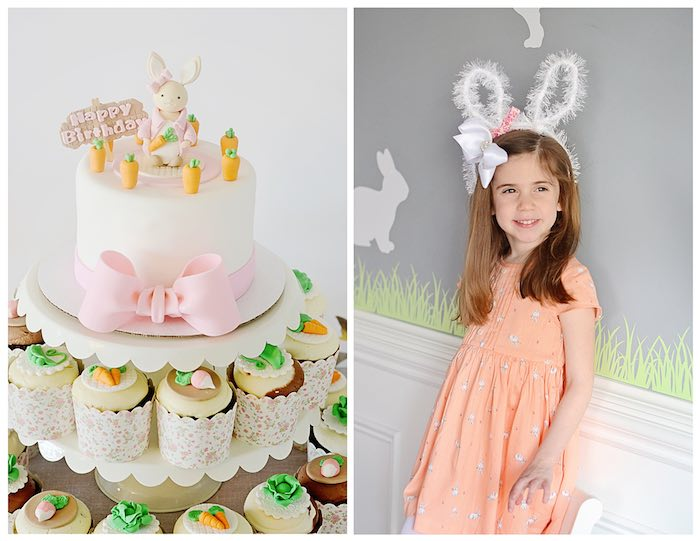 Cake + Cupcakes + Birthday Girl from a Bunny Birthday Party via Kara's Party Ideas | KarasPartyIdeas.com (27)