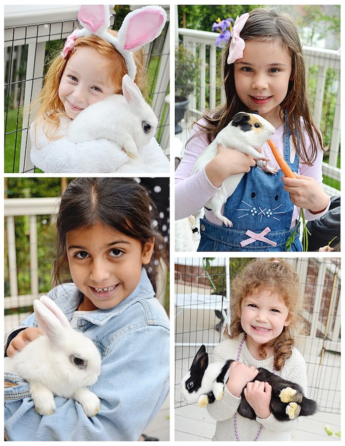 Children with Bunnies from a Bunny Birthday Party via Kara's Party Ideas | KarasPartyIdeas.com (6)