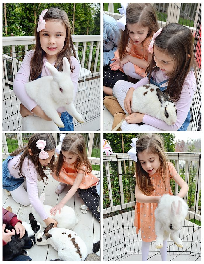 Children with Bunnies from a Bunny Birthday Party via Kara's Party Ideas | KarasPartyIdeas.com (5)