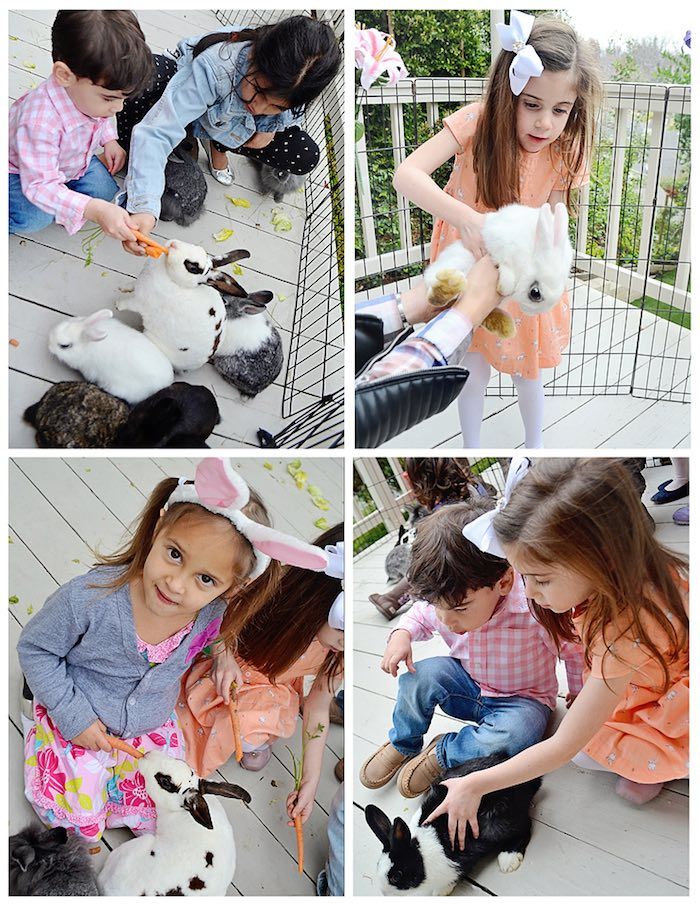 Children with Bunnies from a Bunny Birthday Party via Kara's Party Ideas | KarasPartyIdeas.com (4)