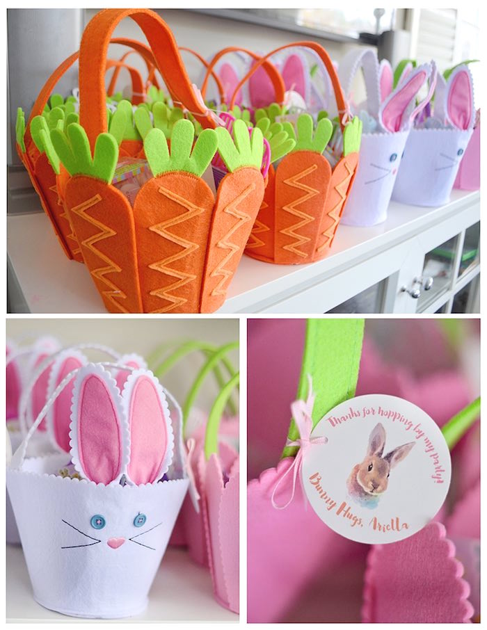 Carrot & Bunny Favor Baskets from a Bunny Birthday Party via Kara's Party Ideas | KarasPartyIdeas.com (3)