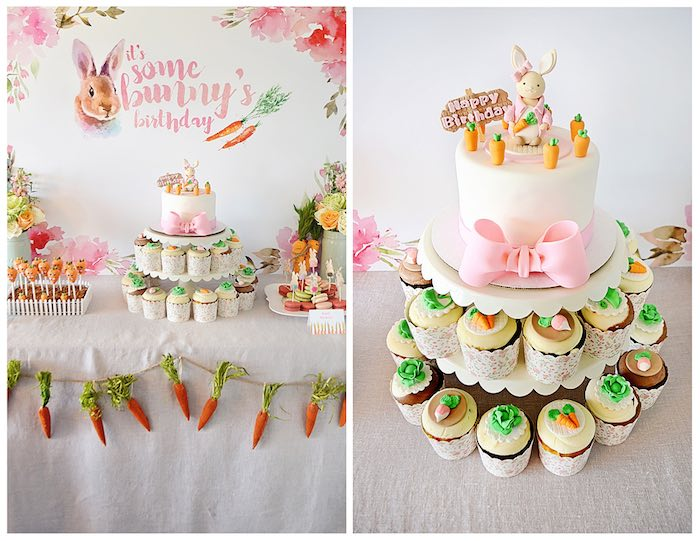 Cake + Dessert Table from a Bunny Birthday Party via Kara's Party Ideas | KarasPartyIdeas.com (1)