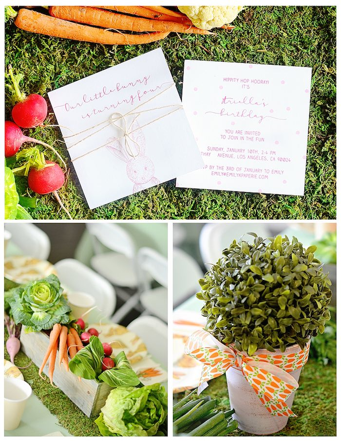 Invitation + Centerpieces from a Bunny Birthday Party via Kara's Party Ideas | KarasPartyIdeas.com (26)