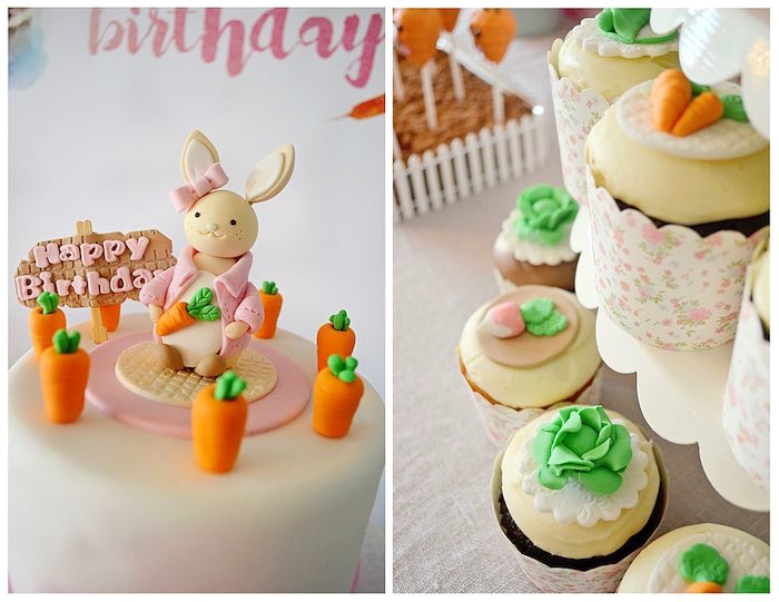 Cake Top + Cupcakes from a Bunny Birthday Party via Kara's Party Ideas | KarasPartyIdeas.com (25)