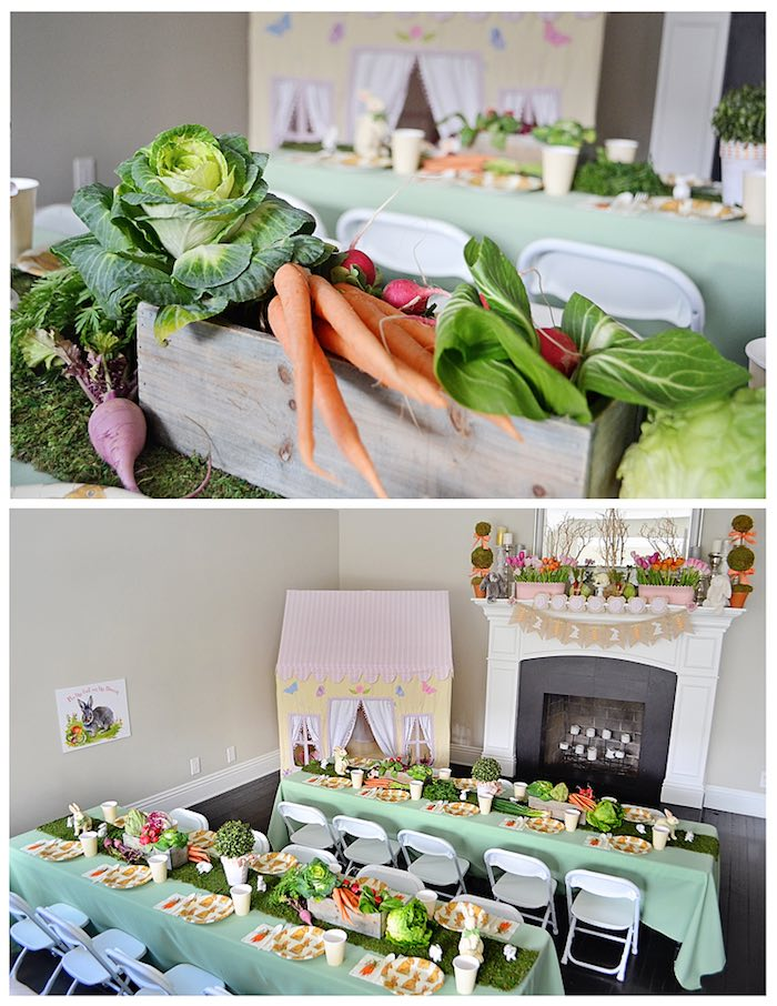 Dining Tables + Garden Centerpieces from a Bunny Birthday Party via Kara's Party Ideas | KarasPartyIdeas.com (20)