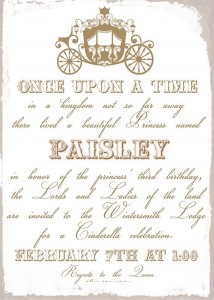 Invitation from a Cinderella Birthday Party via Kara's Party Ideas! KarasPartyIdeas.com (4)