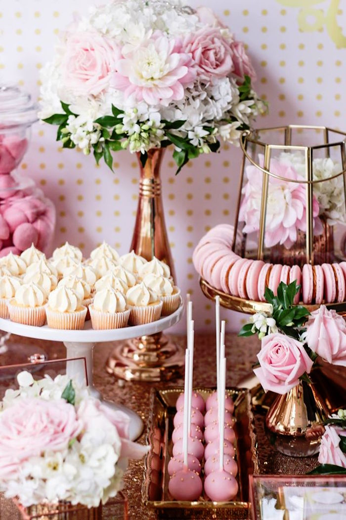 Sweets + Decor from a Copper, Pink & Gold Princess Party via Kara's Party Ideas | KarasPartyIdeas.com (21)
