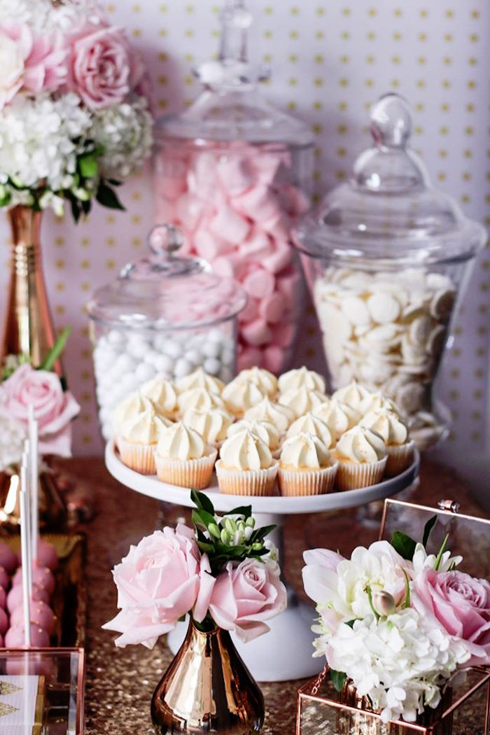 Cupcakes + Candy Bar + Florals from a Copper, Pink & Gold Princess Party via Kara's Party Ideas | KarasPartyIdeas.com (17)