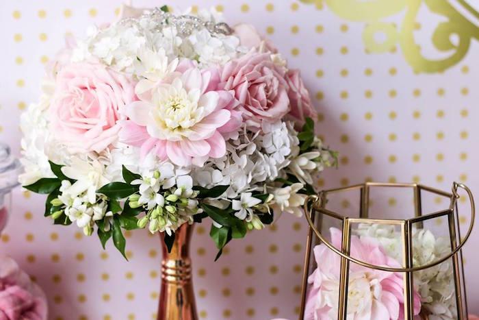 Floral Arrangement from a Copper, Pink & Gold Princess Party via Kara's Party Ideas | KarasPartyIdeas.com (16)