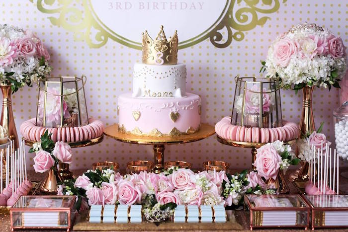 Sweet Table from a Copper, Pink & Gold Princess Party via Kara's Party Ideas | KarasPartyIdeas.com (15)