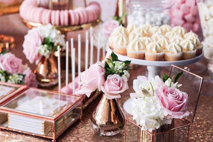 Sweets + Decor from a Copper, Pink & Gold Princess Party via Kara's Party Ideas | KarasPartyIdeas.com (14)