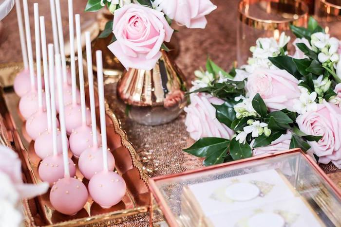 Cake Pops from a Copper, Pink & Gold Princess Party via Kara's Party Ideas | KarasPartyIdeas.com (13)