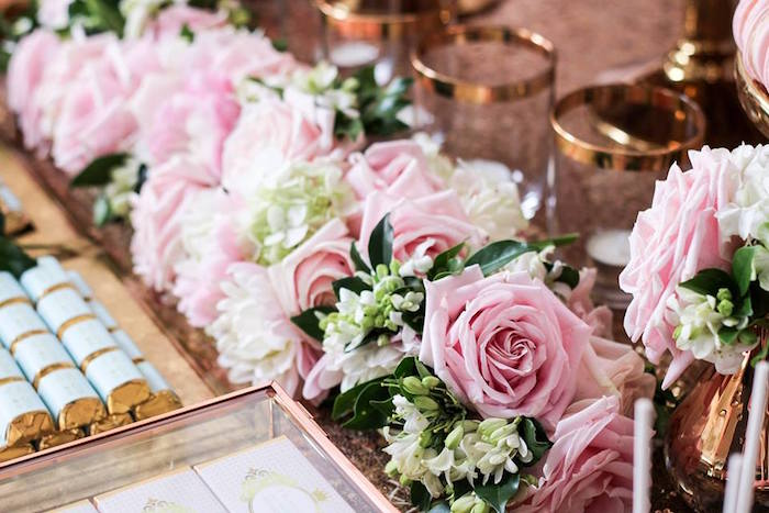 Floral Arrangement from a Copper, Pink & Gold Princess Party via Kara's Party Ideas | KarasPartyIdeas.com (30)