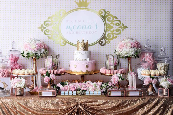 dessert table from a copper pink gold princess party via karas party ideas