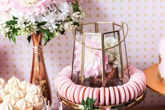 Macarons + Floral Arrangements from a Copper, Pink & Gold Princess Party via Kara's Party Ideas | KarasPartyIdeas.com (8)