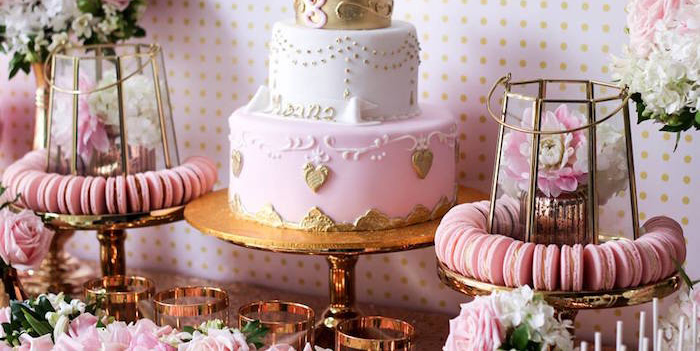 Cake + Decor from a Copper, Pink & Gold Princess Party via Kara's Party Ideas | KarasPartyIdeas.com (5)