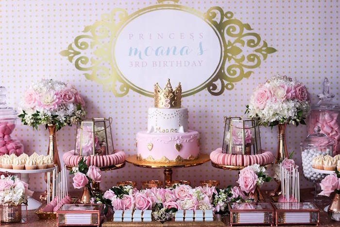 Dessert Table from a Copper, Pink & Gold Princess Party via Kara's Party Ideas | KarasPartyIdeas.com (28)