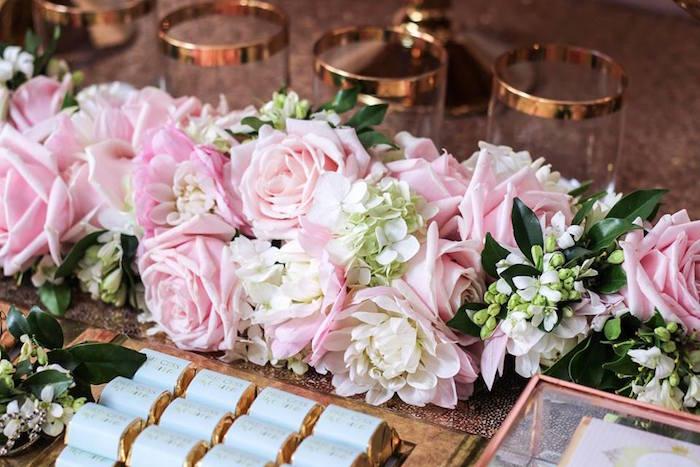 Floral Arrangement Detail from a Copper, Pink & Gold Princess Party via Kara's Party Ideas | KarasPartyIdeas.com (27)