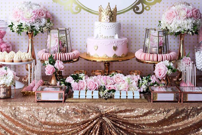 Sweet Table from a Copper, Pink & Gold Princess Party via Kara's Party Ideas | KarasPartyIdeas.com (26)