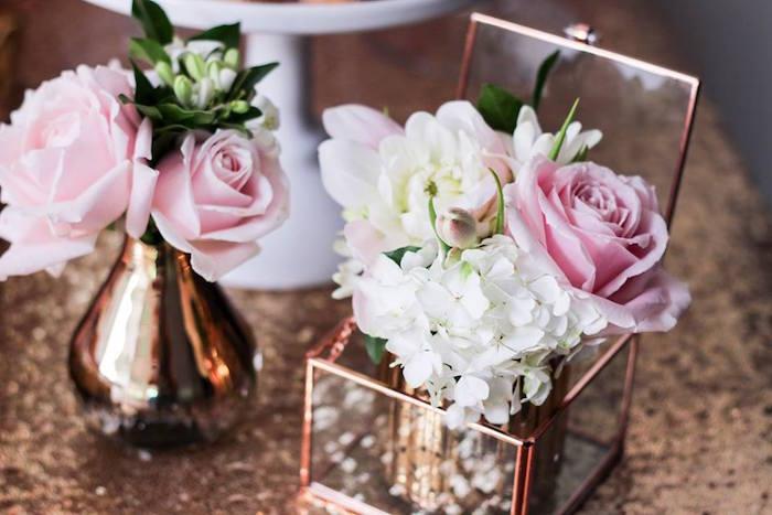 Floral Arrangements from a Copper, Pink & Gold Princess Party via Kara's Party Ideas | KarasPartyIdeas.com (24)