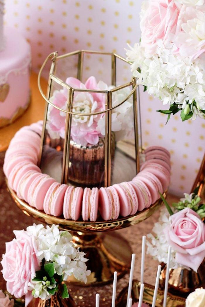 Macarons + Florals from a Copper, Pink & Gold Princess Party via Kara's Party Ideas | KarasPartyIdeas.com (23)