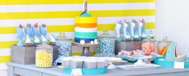Dessert table at a Jawesome shark themed birthday party by Kara Allen | Kara's Party Ideas | Cute for Shark Week!