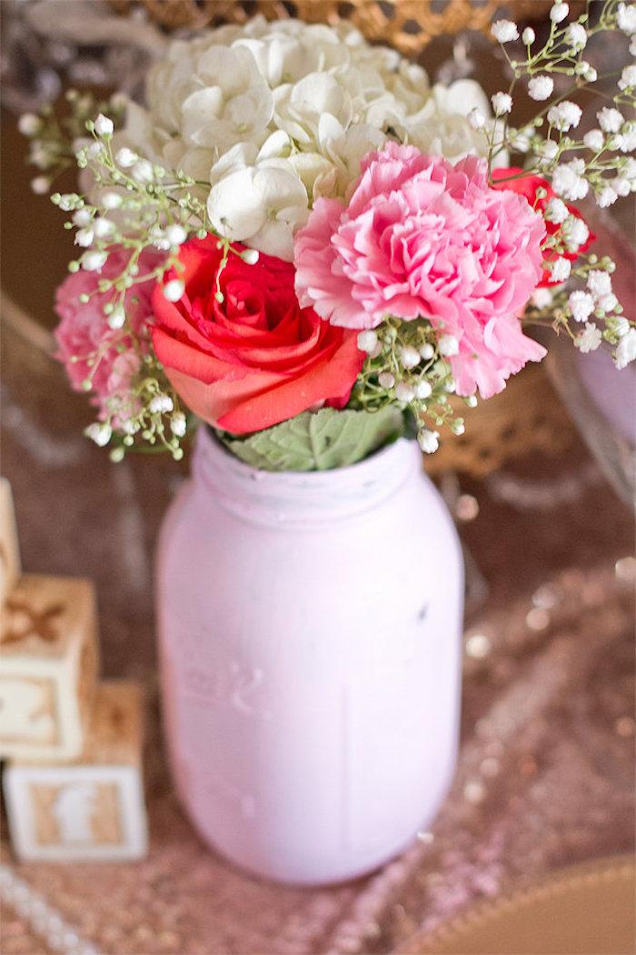 Florals from an Elegant Princess Baby Shower via Kara's Party Ideas | KarasPartyIdeas.com (11)