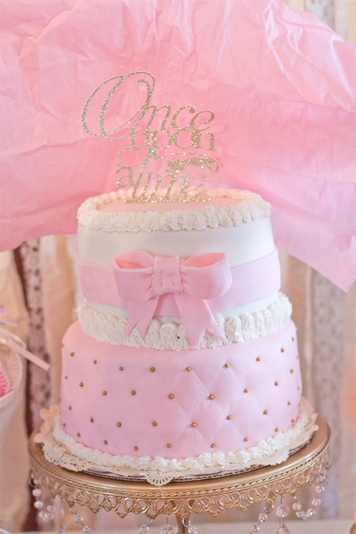 cake form an elegant princess baby shower via kara 39 s party ideas
