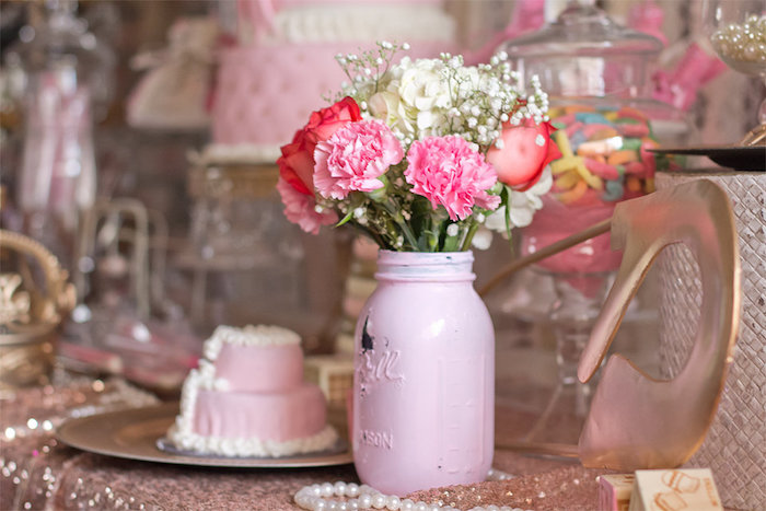 Floral Arrangement from an Elegant Princess Baby Shower via Kara's Party Ideas | KarasPartyIdeas.com (6)