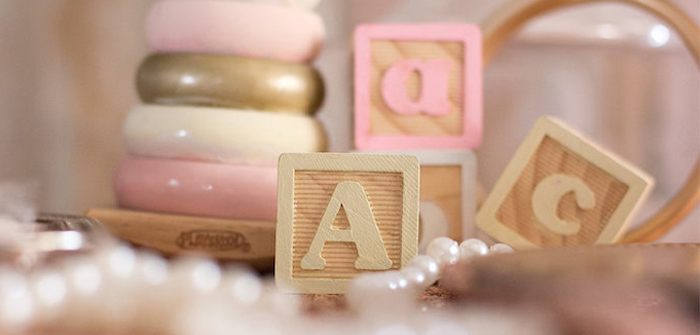 Blocks + Decor from an Elegant Princess Baby Shower via Kara's Party Ideas | KarasPartyIdeas.com (3)
